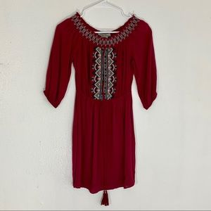 Maroon Flying Tomato Embroidered Peasant Dress